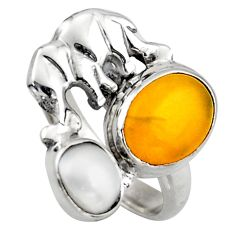 5.84cts natural yellow amber bone pearl 925 silver elephant ring size 6.5 d46078