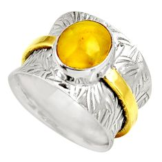 4.68cts natural yellow amber bone silver 14k gold solitaire ring size 8 d39109