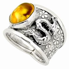 5.18cts natural yellow amber bone silver dragon solitaire ring size 7.5 d45951