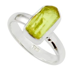 5.28cts natural yellow apatite rough 925 silver solitaire ring size 6.5 r30102