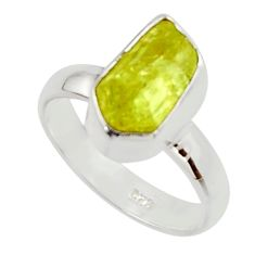 5.54cts natural yellow apatite rough 925 silver solitaire ring size 6 r30101