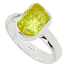 5.06cts natural yellow apatite rough 925 silver solitaire ring size 6 r30113
