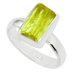 4.84cts natural yellow apatite rough 925 silver solitaire ring size 6 r30195