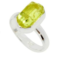 5.55cts natural yellow apatite rough 925 silver solitaire ring size 7 r30103