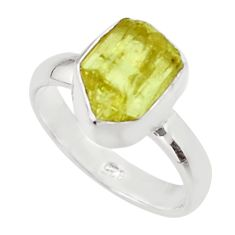 5.11cts natural yellow apatite rough 925 silver solitaire ring size 7 r30111