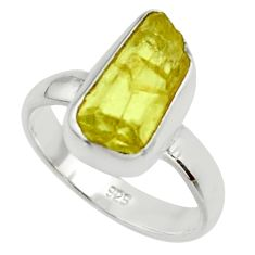 5.82cts natural yellow apatite rough 925 silver solitaire ring size 7 r30120