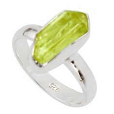 4.84cts natural yellow apatite rough 925 silver solitaire ring size 7 r30189
