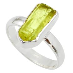 5.81cts natural yellow apatite rough 925 silver solitaire ring size 8 r30105