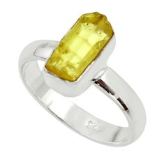 5.55cts natural yellow apatite rough 925 silver solitaire ring size 8 r30117