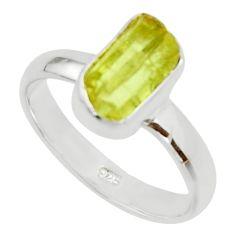 4.67cts natural yellow apatite rough 925 silver solitaire ring size 8 r30196