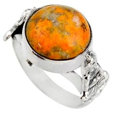 7.35cts natural yellow bumble bee australian jasper silver ring size 8 d46089
