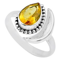 2.39cts natural yellow citrine 925 silver adjustable moon ring size 8.5 r89695