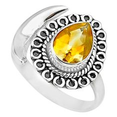 2.81cts natural yellow citrine 925 silver adjustable moon ring size 8.5 r89703