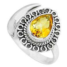 2.67cts natural yellow citrine 925 silver adjustable moon ring size 8.5 r89721