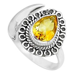 2.95cts natural yellow citrine 925 silver adjustable moon ring size 9.5 r89723
