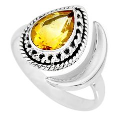 2.67cts natural yellow citrine 925 silver adjustable moon ring size 7.5 r89745