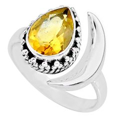 2.67cts natural yellow citrine 925 silver adjustable moon ring size 8.5 r89782