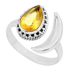 2.53cts natural yellow citrine 925 silver moon ring size 8.5 r89810