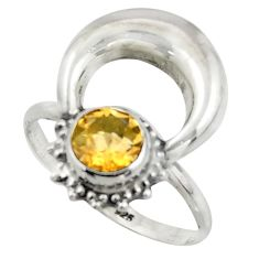 2.28cts natural yellow citrine 925 silver half moon ring jewelry size 9 r41623
