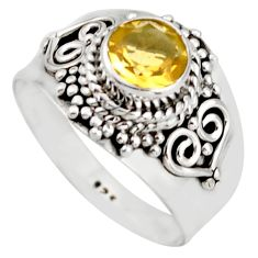 1.48cts natural yellow citrine 925 silver solitaire ring jewelry size 7.5 d46281