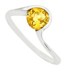 1.27cts natural yellow citrine 925 silver solitaire ring jewelry size 6.5 r25350