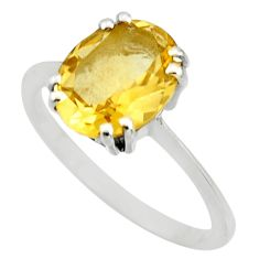 4.62cts natural yellow citrine 925 silver solitaire ring jewelry size 7.5 r25470