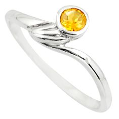 0.66cts natural yellow citrine 925 silver solitaire ring jewelry size 7.5 r25567