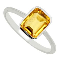 2.14cts natural yellow citrine 925 silver solitaire ring jewelry size 7.5 r25645