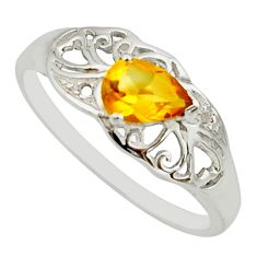 1.49cts natural yellow citrine 925 silver solitaire ring jewelry size 6.5 r25671