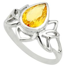 2.78cts natural yellow citrine 925 silver solitaire ring jewelry size 8.5 r25918