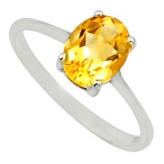 2.03cts natural yellow citrine 925 silver solitaire ring jewelry size 6.5 r25972