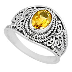 2.09cts natural yellow citrine 925 silver solitaire ring jewelry size 7.5 r58021