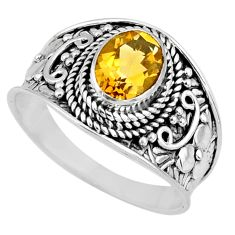 2.09cts natural yellow citrine 925 silver solitaire ring jewelry size 8.5 r58023