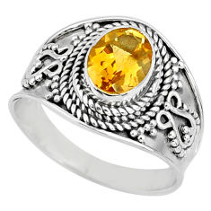 1.96cts natural yellow citrine 925 silver solitaire ring jewelry size 7.5 r58025