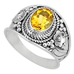 2.19cts natural yellow citrine 925 silver solitaire ring jewelry size 7.5 r58026