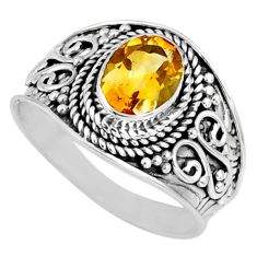 2.09cts natural yellow citrine 925 silver solitaire ring jewelry size 8.5 r58621