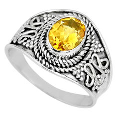 1.82cts natural yellow citrine 925 silver solitaire ring jewelry size 7.5 r58628