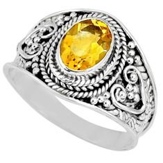 1.96cts natural yellow citrine 925 silver solitaire ring jewelry size 8.5 r58629