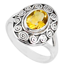 2.01cts natural yellow citrine 925 silver solitaire ring jewelry size 8.5 r68890