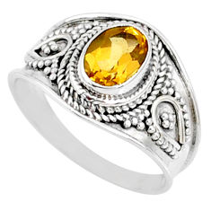 2.17cts natural yellow citrine 925 silver solitaire ring jewelry size 8.5 r68997