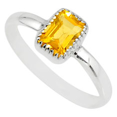 1.41cts natural yellow citrine 925 silver solitaire ring jewelry size 9.5 r77190