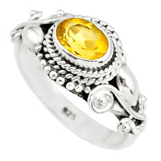 1.51cts natural yellow citrine 925 silver solitaire ring jewelry size 8.5 r85618