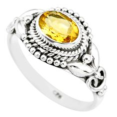 1.42cts natural yellow citrine 925 silver solitaire ring jewelry size 6 r85597
