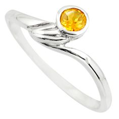 0.57cts natural yellow citrine 925 silver solitaire ring jewelry size 7 r25565