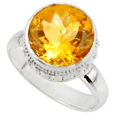 6.31cts natural yellow citrine 925 silver solitaire ring jewelry size 7 r48082