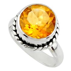 6.04cts natural yellow citrine 925 silver solitaire ring jewelry size 7 r48083