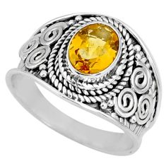 2.05cts natural yellow citrine 925 silver solitaire ring jewelry size 7 r58622