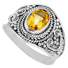 1.96cts natural yellow citrine 925 silver solitaire ring jewelry size 7 r58625