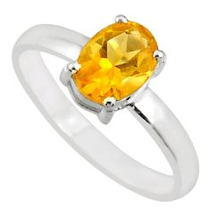 1.82cts natural yellow citrine 925 silver solitaire ring jewelry size 7 r70937