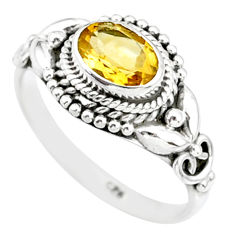 1.46cts natural yellow citrine 925 silver solitaire ring jewelry size 7 r85594